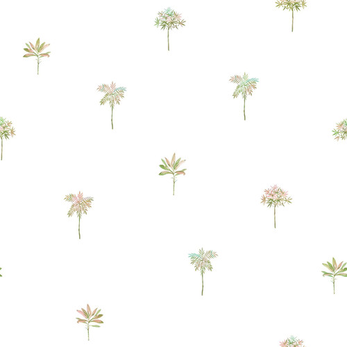 Chesapeake by Brewster 3113-12061 Seaside Living Palmetto Pink Leaves Wallpaper