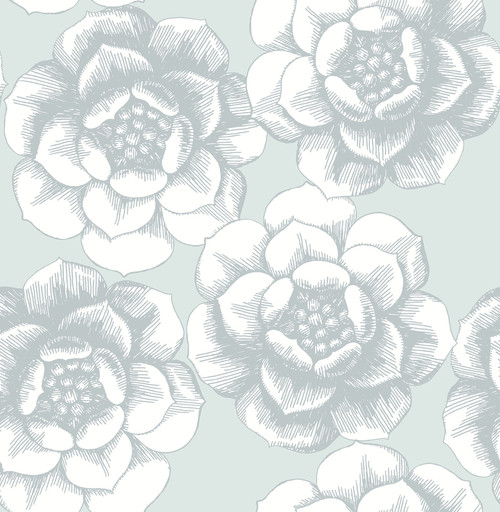 A−Street Prints by Brewster 2763-24240 Moonlight Fanciful Silver Floral Wallpaper
