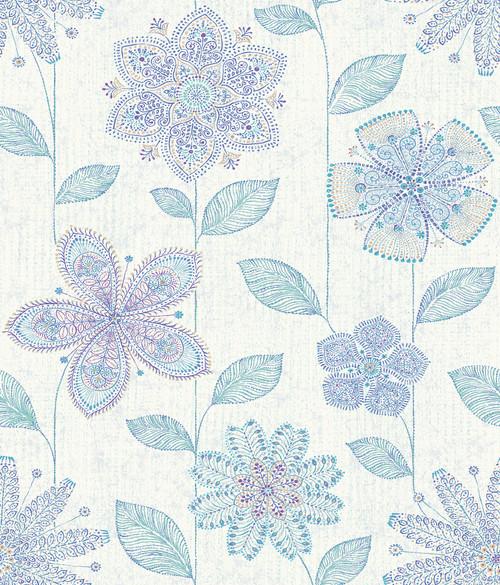 A-Street Prints by Brewster 1014-001812 Kismet Maisie Indigo Batik Flower Wallpaper