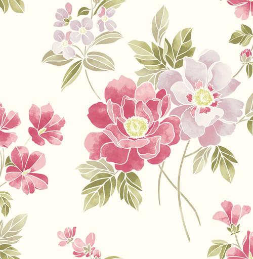 A-Street Prints by Brewster 2656-004022 Claressa Pink Floral Wallpaper