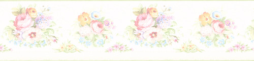 Kitchen, Bath and Bed Resource IV by Brewster 414B61890 Vicky White Victorian Floral Border