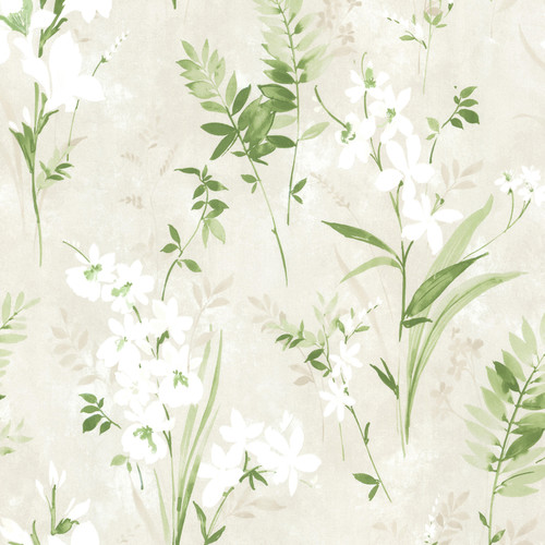 Beacon House by Brewster 2605-21628 Rosemore Henrietta Green Watercolor Floral Wallpaper