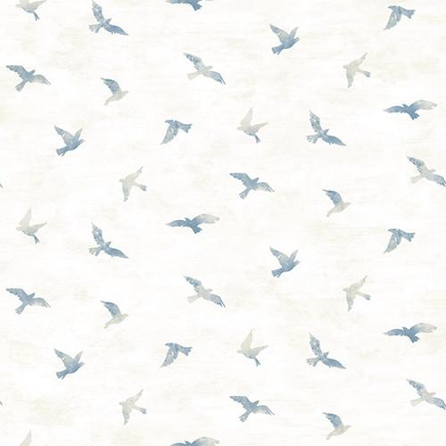 Chesapeake by Brewster 3118-12621 Birch & Sparrow Soar Denim Bird Wallpaper