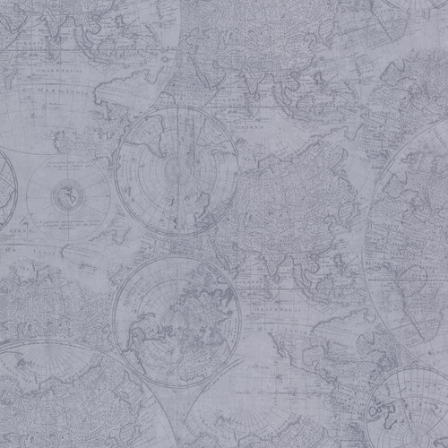 Beacon House by Brewster 2604-21236 Oxford Cartography Blue Vintage World Map Wallpaper
