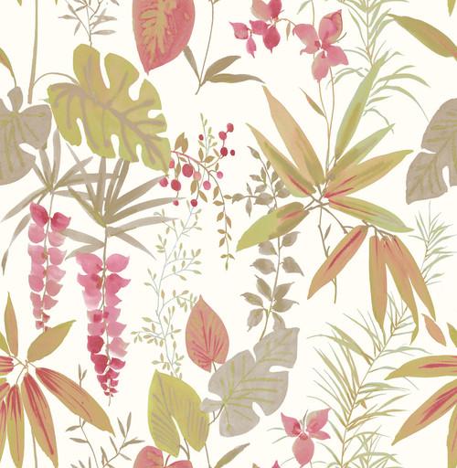 A-Street Prints by Brewster 2656-004014 Descano Flower Pink Botanical Wallpaper
