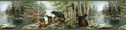 Chesapeake by Brewster 3118-01531B Birch & Sparrow Bear Necessities Multicolor Mountain Lake Border