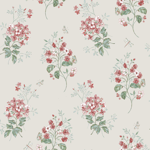 Chesapeake by Brewster 3112-002702 Sage Hill Beverly Red Floral Wallpaper