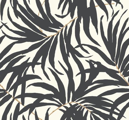 York AT7056 Tropics Bali Leaves Wallpaper off white, darkest grey, tan