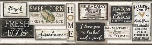 York LG1360BD Rustic Living Wallpaper Collection, Farm To Table Border - Black/White