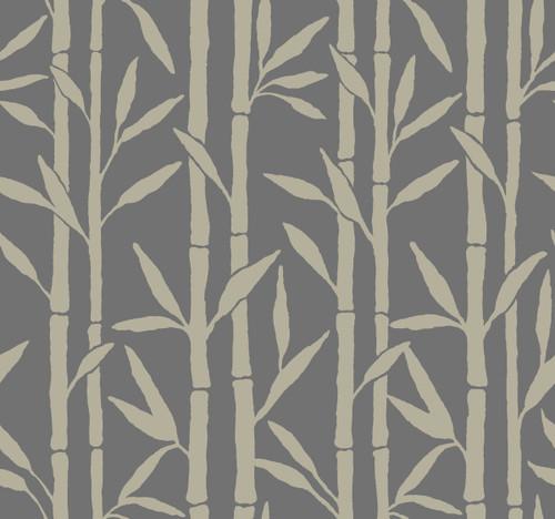 York Wallcoverings OG0607 Antonina Vella Elegant Earth Bamboo Grove Wallpaper Charcoal