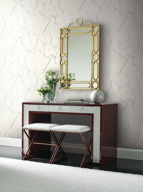 York Wallcoverings MM1757 Mixed Materials Gilded Marble Grey/Gold