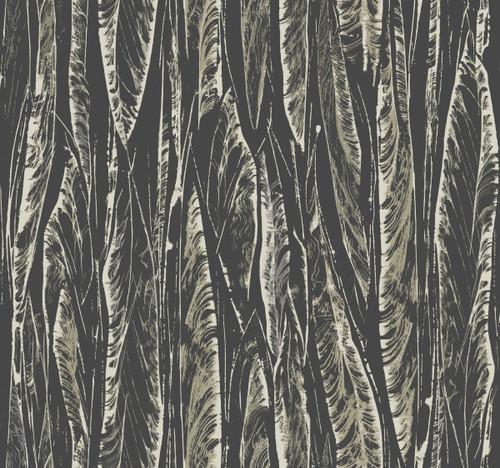 York Wallcoverings OG0580 Antonina Vella Elegant Earth Native Leaves Wallpaper Black