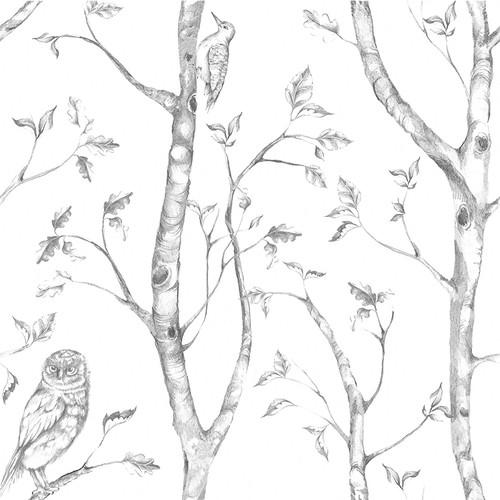 NuWallpaper by Brewster NU1412 Grey Woods Peel & Stick Wallpaper