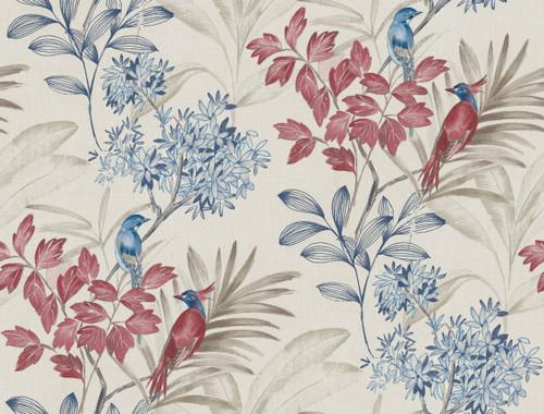 York Handpainted Songbird Wallpaper Red/Blue TL1925 Handpainted Traditionals