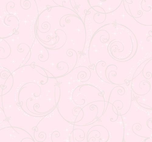 York Wallcoverings DI0904 Disney Princess Perfect Scroll Wallpaper Pink/Glitter