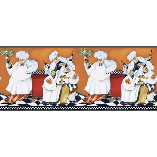 York Wallcoverings Border Portfolio BG1680BD Chef's A-Cookin' Border, White / Orange