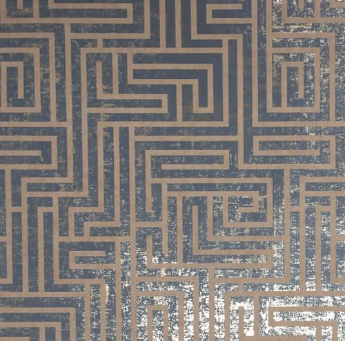 Mid Century Wallpaper Collection, Modern Classic Pattern,A-Maze Wallpaper - Dark Blue