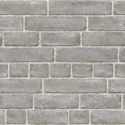 NuWallpaper by Brewster NUW2236 Grey Brick Facade Peel & Stick Wallpaper