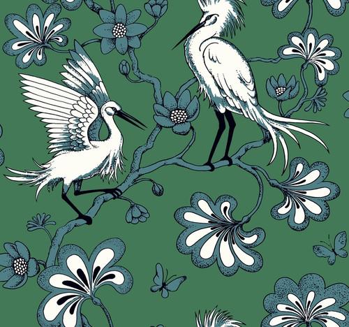 York Wallcoverings FB1451 Florence Broadhurst Egrets Wallpaper Green