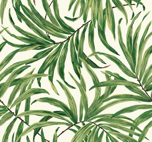 York AT7050 Tropics Bali Leaves Wallpaper white, light to dark green, yellow, tan