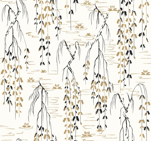York Wallcoverings AF6581 Willow Branches Wallpaper White, Black, Gold