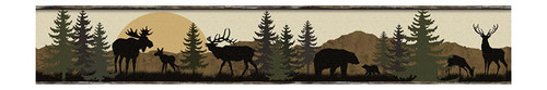 York Wallcoverings LM7946BD Lake Forest Lodge Realtree Ap Border, Brown / Green