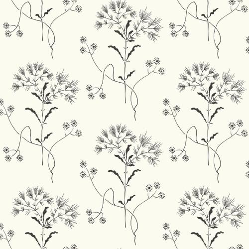 York Wallcoverings ME1515 Magnolia Home Vol. II Wildflower  Black on White