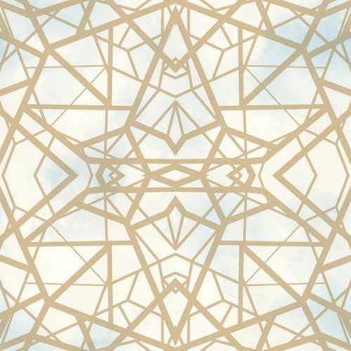 RoomMates RMK10689WP Shatter Geometric Gold Peel & Stick Wallpaper Sky/Gold