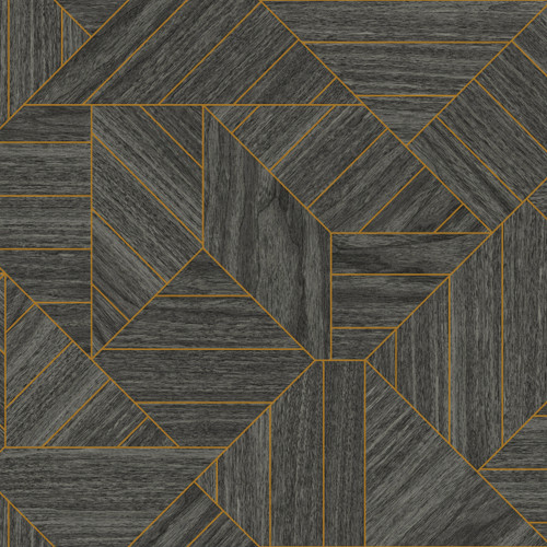 York Wallcoverings HO3372 Wood Geometric Wallpaper Black