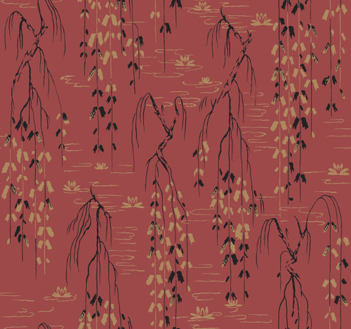 York Wallcoverings AF6585 Willow Branches Wallpaper Red, Black, Gold