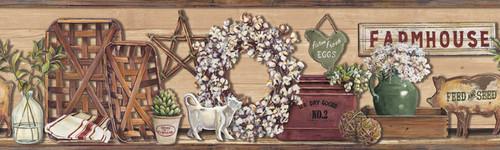 YorkLG1301BDRustic Living Wallpaper Collection,Farmhouse Shelf Border - Beige/Sage