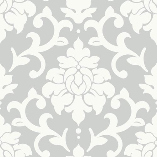 RoomMates RMK9112WP Damask Grey Peel & Stick Wallpaper Grey