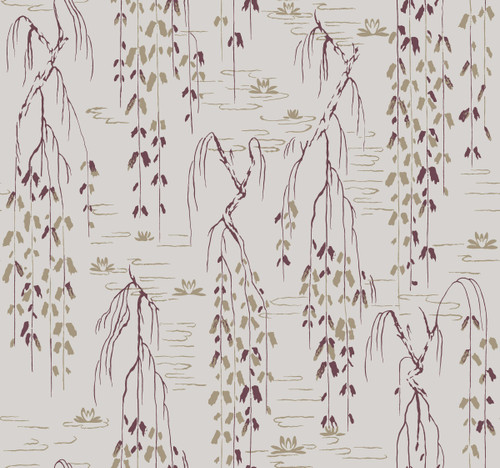 York Wallcoverings AF6584 Willow Branches Wallpaper Grey, Purple