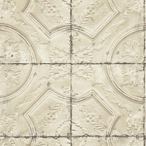 Chesapeake by Brewster 3115-12434 Deerfield Beige Vintage Tin Tile Wallpaper