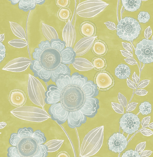 A-Street Prints by Brewster 2656-004035 Bloom Green Floral Wallpaper