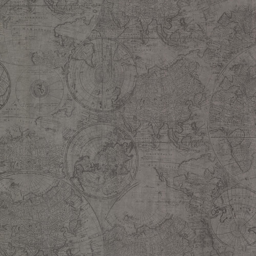 Beacon House by Brewster 2604-21239 Oxford Cartography Pewter Vintage World Map Wallpaper