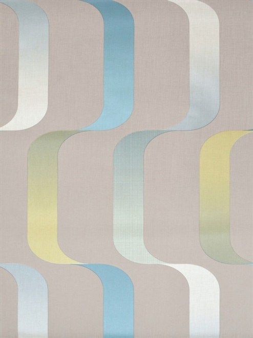 Mid Century Wallpaper Collection, Modern Classic Pattern,Ribbon Wallpaper - Light Grey/Teal/Citron