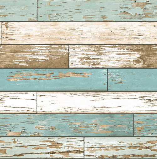 A-Street Prints by Brewster 2701-22318 Reclaimed Scrap Wood Turquoise Weathered Texture Wallpaper