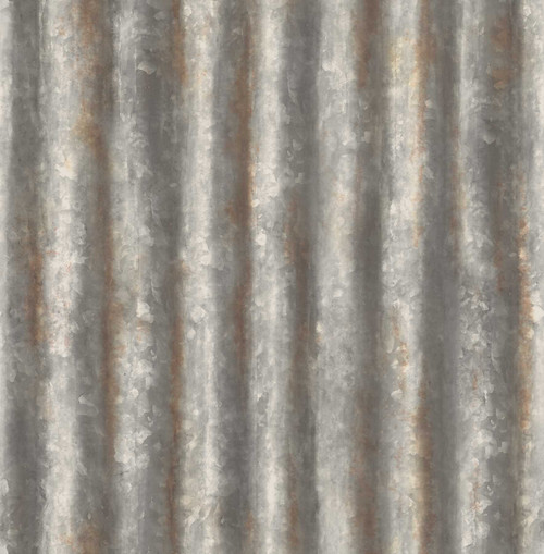 A-Street Prints by Brewster 2701-22333 Reclaimed Corrugated Metal Charcoal Industrial Texture Wallpaper
