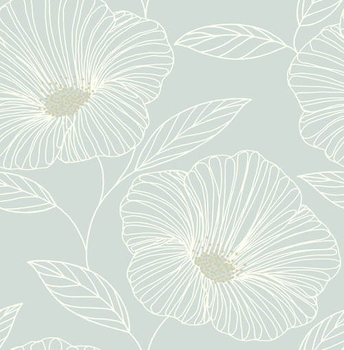 A-Street Prints by Brewster 2764-24321 Mistral Mythic Seafoam Floral Wallpaper