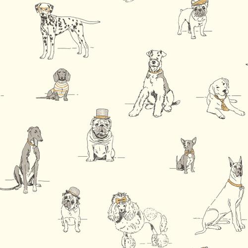 York Wallcoverings AF1938 Ashford Toiles Dog's Life Wallpaper Silver/Metallic Gold