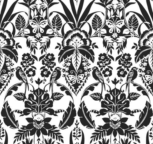 York Wallcoverings CY1585 Botanical Damask Wallpaper Black