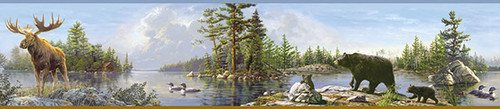 Chesapeake by Brewster 3118-48541B Birch & Sparrow Moose Lake Multicolor Forest Border