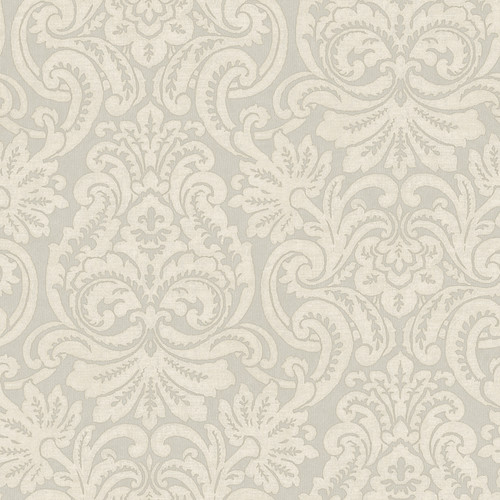 Chesapeake by Brewster QE14084 Quintessential II Taupe Dante Damask Wallpaper