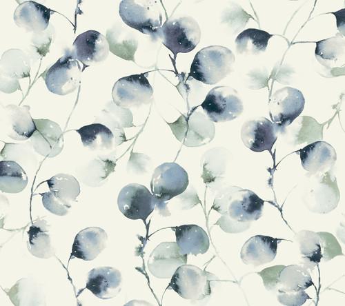 York Wallcoverings OG0593 Antonina Vella Elegant Earth Eucalyptus Trail Wallpaper Blue
