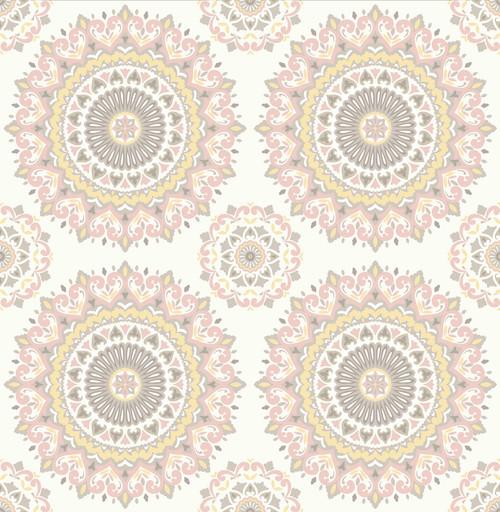 A-Street Prints by Brewster 1014-001805 Kismet Gemma Light Pink Boho Medallion Wallpaper
