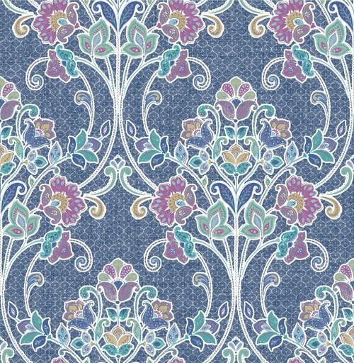 A-Street Prints by Brewster 1014-001807 Kismet Willow Indigo Nouveau Floral Wallpaper
