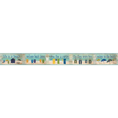 York Wallcoverings BP8181BD Border Portfolio Ii Beach House Rules Border Blue/Green