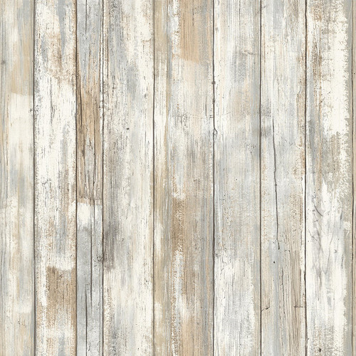 RoomMates AVE10260 Distressed Wood Peel and Stick Wallpaper Neutral