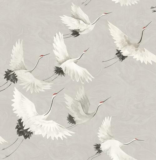 A-Street Prints by Brewster 2764-24304 Mistral Windsong Grey Crane Wallpaper